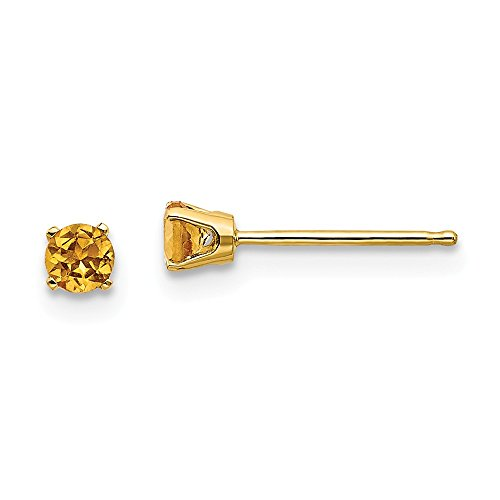 14k Yellow Gold 3mm November/citrine Post Stud Earrings Birthstone November Prong Gemstone Fine Jewelry Gifts For Women For - Earrings Flower Birthstone 10k Gold