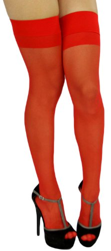 ToBeInStyle Women's Sheer Banded Thigh Hi w/ Back Seam - Plus - Red (Red Opaque Thigh High Stockings)