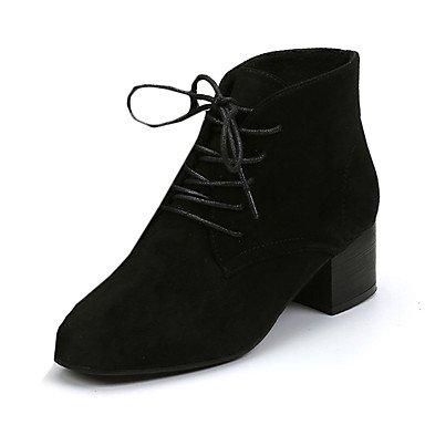 GLL&xuezi Damen-Stiefel-Lässig-PU-Flacher Absatz-Komfort-Schwarz Grün black
