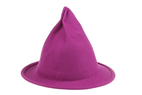 Dantiya Women's Wool Felt Candy Colored Sharp Pointed Witch Hat (Rose)