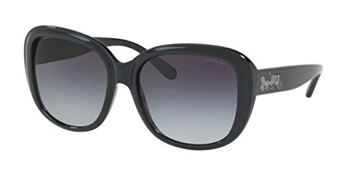 Coach Women's HC8207 Sunglasses Black/Black Gunmetal Sig C / Grey Gradient - Sunglasses Coach Mens