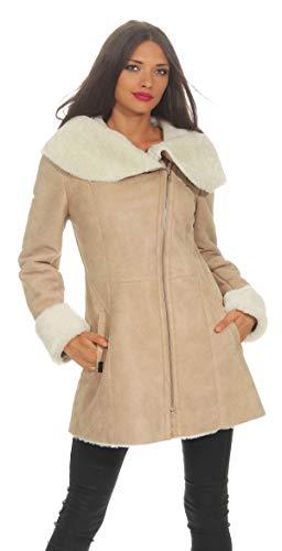 En Mouton De Capuche Cuir Veste Femmes D'hiver Beige Peau Fourrure Avec Delana YdwxTEq