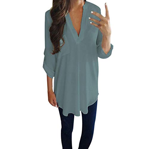 Women Chiffon Top Duseedik Ladies Casual Long Sleeve V Neck Shirt T-Shirt Blouse Light Blue