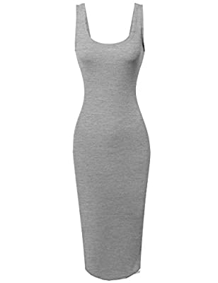 Awesome21 Women's Sleeveless Midi Length Rib Tank Dress