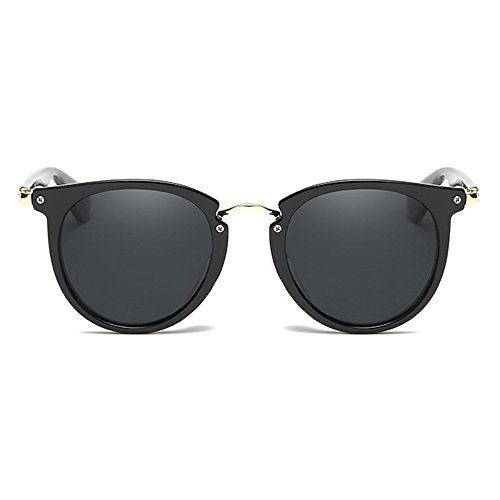 ASLNsong Classic Small Round Retro Mirrored Sunglasses (Bright black frame/Grey lens, 58)