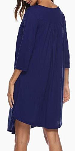 Jaycargogo Manches 3/4 Des Femmes De V Cou Ruché Patte Robe Tunique T-shirt Décontracté Bleu Foncé