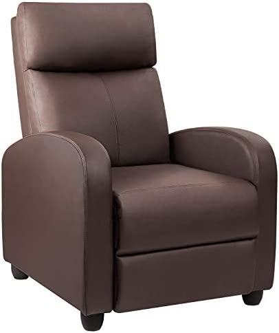 Devoko Adjustable Single Recliner Chair, PU Leather Modern Living Room Chair, Padded Cushion Reclining Sofa for Home Theater Seating Brown