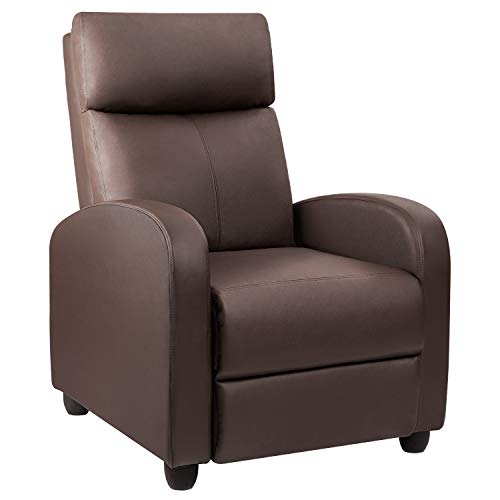 Devoko Recliner Chair PU Leather Modern Single Living Room Reclining Sofa Padded Cushion Adjustable Home Theater Seating (Brown) ()