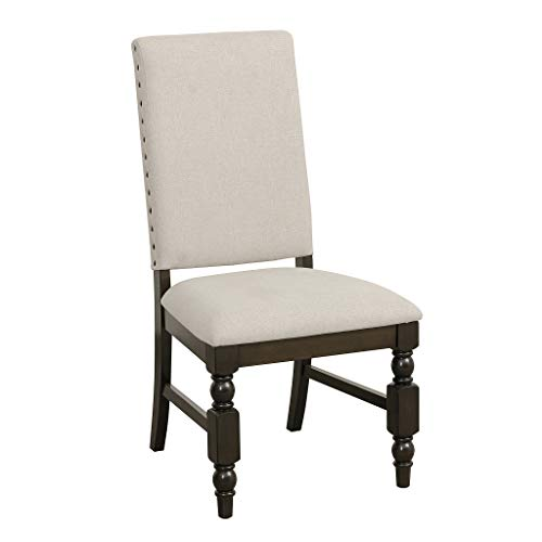 Homelegance 5167FS Fabric Dining Chair with Nailheads, Beige, Set of 2