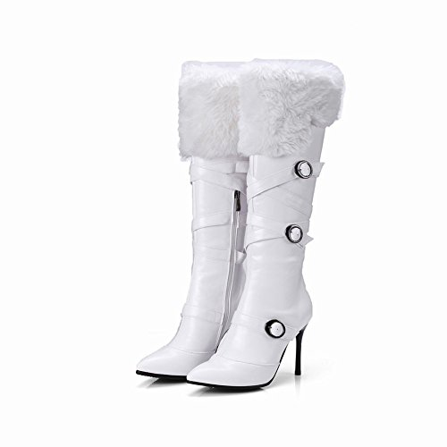 Carolbar Womens Faux Fur Gespen Zip Puntschoen Sexy Hoge Hak Tall Boots White