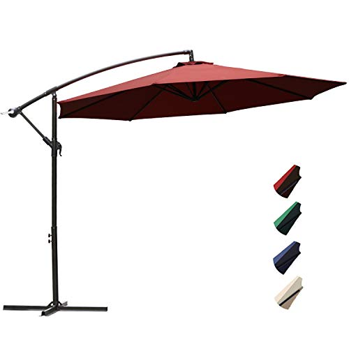 RUBEDER Offset Umbrella - 10Ft Cantilever Patio Hanging Umbrella,Outdoor Market Umbrellas with Crank Lift & Cross Base (10 Ft, Red) ()