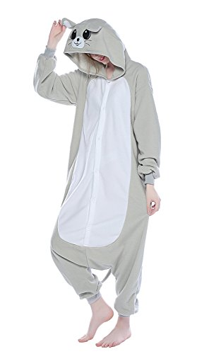 NEWCOSPLAY Halloween Adult Unisex Gray Mouse Hooded Pajamas Animal Costume (L, Grey (Grey Mouse Onesie Costume)