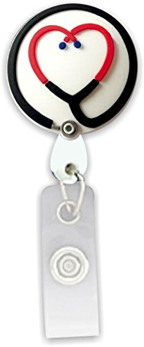 - Retractable Badge Holder 3D Soft Rubber Stethoscope Heart SmartCharms