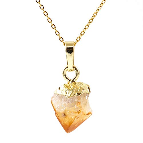 (14k Gold on Sterling Silver Raw Citrine Crystal Gemstone Necklace 18 inch Free Form Healing Gem Chakra Stones NK18GP24)