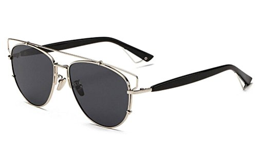 a3597b6baa2 GAMT Retro Vintage Mirrored Aviator Sunglasses Metal Frame Glass Lens  Classic Style Silver-grey
