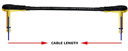 6 Units - Lava Tightrope (Black) - 6 Inch - Guitar Bass Effects Instrument, Patch Cable with Premium Gold Plated ¼ Inch (6.35mm) Low-Profile, Right Angled Pancake type TS Connectors by WORLDS BEST CABLES (Image #2)
