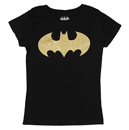 (DC Comics Batman Shirt Gold Foil Glitter Graphic Black Costume Logo Girls Top)