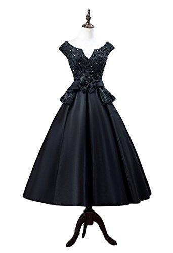 VikDressy Women's Black A-Line Beading Lace Prom Dress Cap Sleeves Tea-Length Matte Satin Evening Gown ()