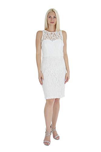 - Marina Women's Sleeveless Illusion Neckline & Back Keyhole Lace Sheath Dress White 4