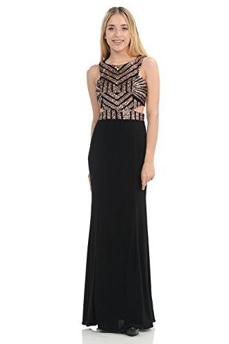 Terani Prom Pageant Dress - TwinMod Geometric Sequined Floor Length Prom Bridesmaid Evening Dress (LARGE, BLACK/BRONZE)