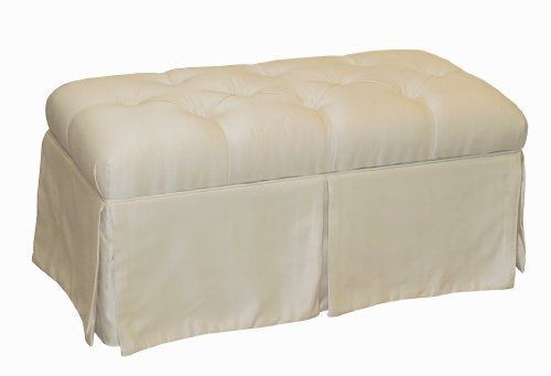 Surrey Skirted Tufted Storage Bench by Skyline Furniture in Parchment Shantung