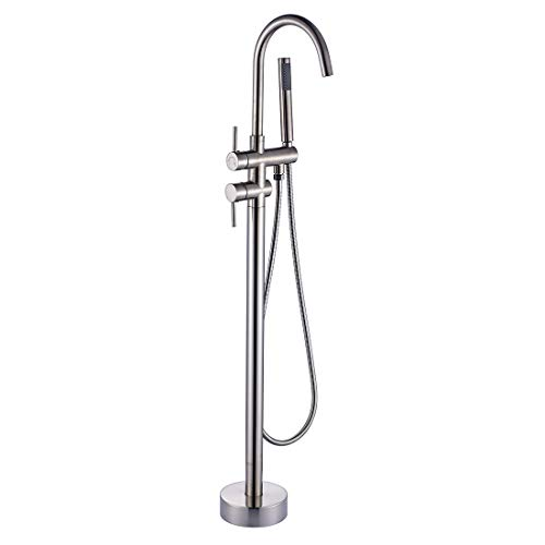 (Bathtub Shower Faucets Set Free Standing Bath Tub Filler Faucets with Hand Bathroom Shower Mixer Taps,Brushed Nickel)