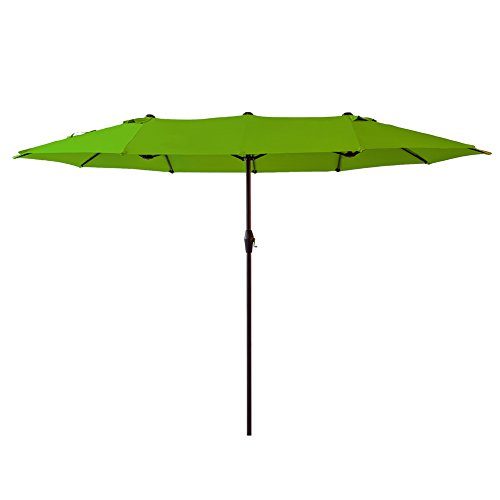 FLAME&SHADE 15 Foot Double Sided Twin Outdoor Patio Umbrella with Crank Lift, Oval Shape, Apple Green