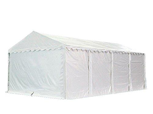 XXL Lagerzelt PROFESSIONAL 5x8m, hochwertige 550g/m² PVC Plane in weiß, vollverzinkte Stahlkonstruktion, Ø Stahlrohre ca. 50 mm, Seitenhöhe ca. 2,6 m