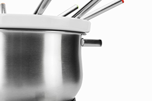 Artestia Electric Chocolate & Cheese Fondue Set with Two Pots, Serve 8 persons (Stainless Steel/Ceramic Pots, Stainless Steel Base) by Artestia (Image #6)