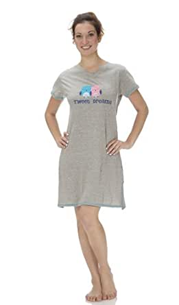 """(5127VR) Rampage """"Tweet Dreams"""" Embroidered Cotton Jersey Night Shirt (Small-3X) in Gray Size: XL"""
