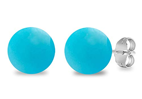 Turquoise, Pearl, Amethyst, Onyx, Smoky Quartz Gemstone Stud Earrings, 925 Sterling Silver, Perfect Gift for Womens And Girls, Secured Butterfly Back Push (7 Cttw, 8 Mm Round Ball)