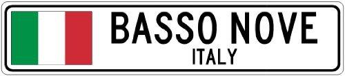 Custom Street SignBASSO NOVE, ITALY - Italy Flag City Sign - 3x18 Inches Aluminum Metal Sign