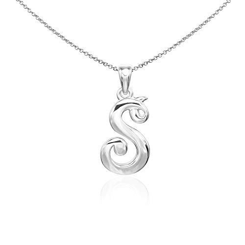 Sea of Ice Sterling Silver Initial Alphabet Letters S Pendant Necklace, 18 ()
