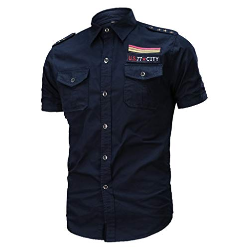 (Allywit Military T-Shirt for Mens, Men's Slim Fit Button Shirt with Pocket Short Sleeve Big and Tall Dark Blue)