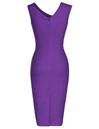 Partito lunghezza Tubino Ginocchio Donna MUXXN 50s Vestito Viola Vestiti Vintage 30s 60s xz6n08qwH