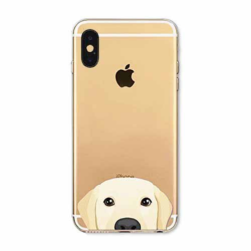 DECO FAIRY Compatible with iPhone X / Xs, Cartoon Anime Animated Golden Retriever Dog Pug Pup Puppy Series Transparent Translucent Flexible Silicone Clear Cover Case