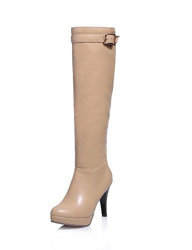 Tacón Eu39 Y Casual Botas Exterior De Zapatos Brown Vestido Cerrada Punta Oficina Mujer Uk6 us8 Xzz Trabajo Redonda Stiletto Cn39 cuero t1BxqnWn