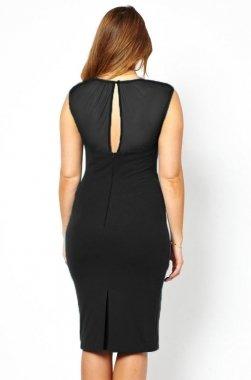 Neue Frau Plus Größe Schwarz Mesh Detail Midi Kleid Büro Kleid Casual Abend Party Wear plus Größe 14�?6