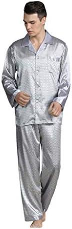 パジャマ CHJMJP シルクメンズパジャマは、スリープソリッドサテンパジャマ男性の夏のスーツのフルスリーブシルクパジャマ男性パジャマを設定します。 (Color : ブラック, Size : L)