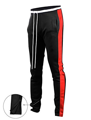 SCREENSHOTBRAND-S41700 Mens Hip Hop Premium Slim Fit Track Pants - Athletic Jogger Bottom with Side Taping-BK/GD-Large