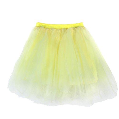 Ansenesna Femme Mini Courte Robe Tutu Jupe Tulle Jupon Sous Jupe Princesse Soires Anniversaire Dguisement Jaune clair