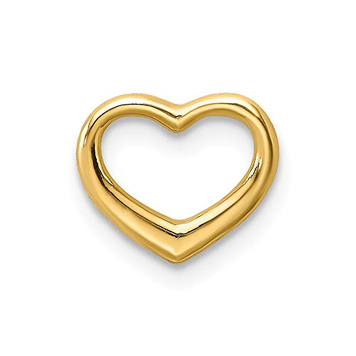 14k Yellow Gold Mini Floating Heart Slide Necklace Pendant Charm Chain Love Fine Jewelry Gifts For Women For Her