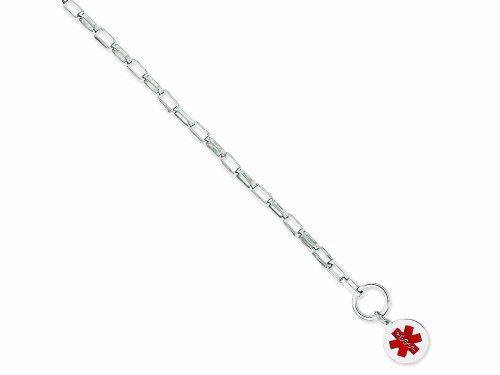 - Finejewelers Sterling Silver Engravable Enameled Circular Disc Medical Id Bracelet