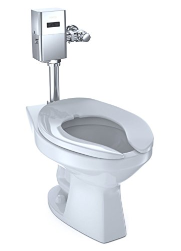 TOTO CT705UN#01 Elongated 1.0 GPF Floor-Mounted Flushometer Toilet Bowl with Top Spud, Cotton White-CT705UN