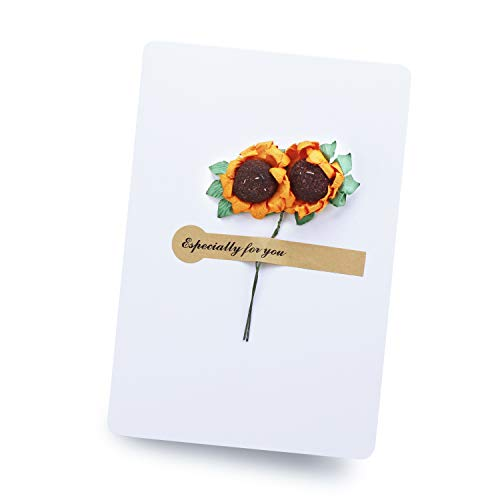 Artificial Sunflower Greeting Card, 10pcs Handmade Message Paper Invitation DIY Envelope Creative Thank Flower Postcard - White (3.7