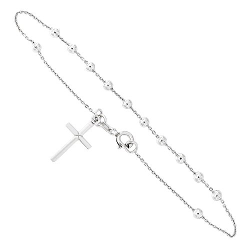 Silver Plated Solid Cross - Solid Sterling Silver Rhodium Plated Rosary Bracelet with Cross Charm, 3mm