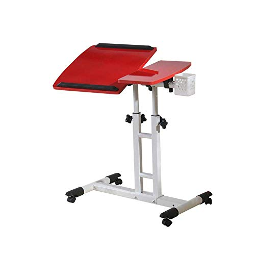 XD Series by KMC Wheels Dongy Table Desk Portable Laptop Stand Desk Cart with Mouse Board Adjustable Height 360° Swivel and 180° Tilt Lockable Casters (Color : A)