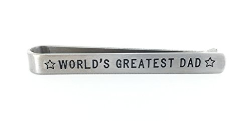 """World's Greatest Dad"" Tie Bar/Tie Clip - All-Metal - Modern Design - Father's Day Gift"
