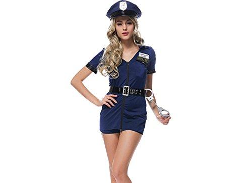 Smile Cop dress blue policewoman Halloween costumes cosplay uniforms party dress (Cop Uniform Halloween)