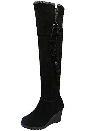 Calda del Lunghi alti ginocchio Stivali Lace BIGTREE Donna Casual Nero Confortevole Up Inverno Autunno Zeppa Di Stivali n715wx6wE